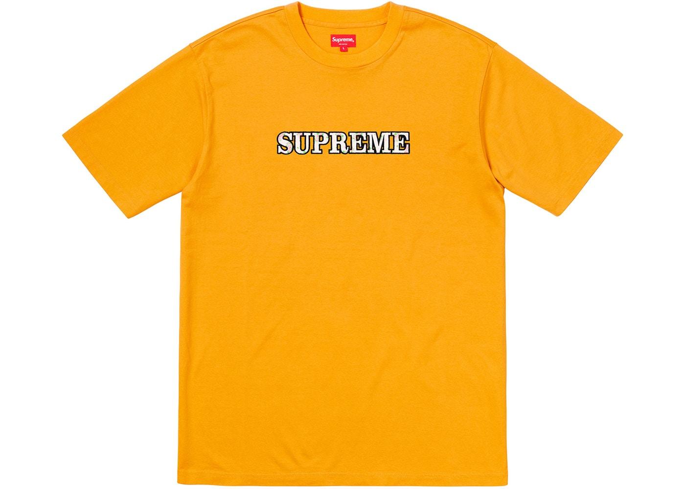 04c0b71c Supreme Floral Logo Tee Gold Stockx ...