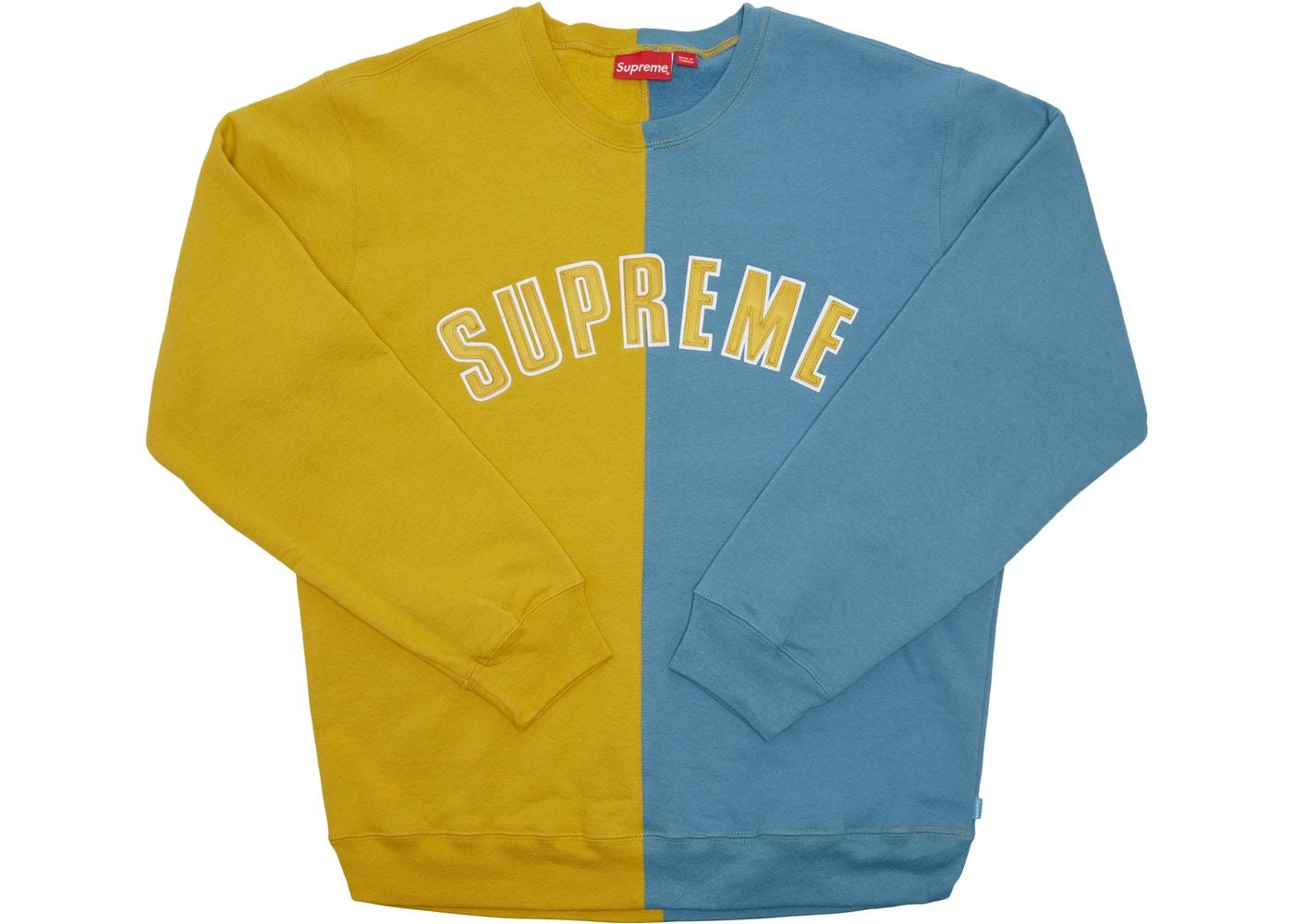 Supreme Split Crewneck Sweatshirt Mustard