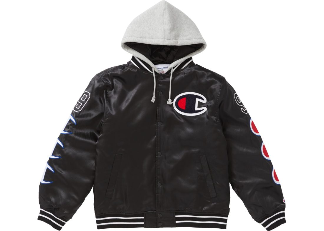 Black Satin News Supreme Champion Hooded Jacket Varsity Stockx Nv8mnw0O