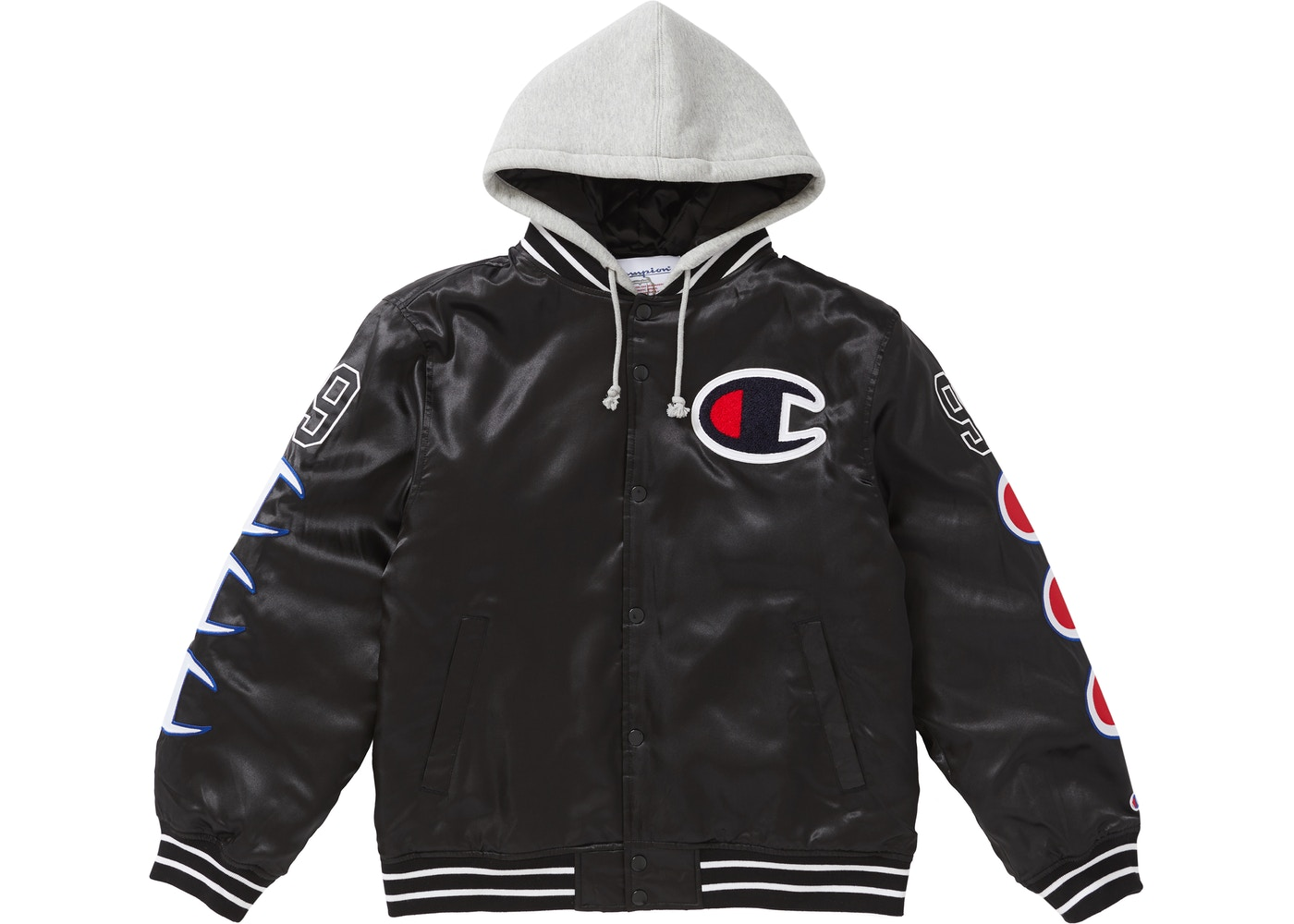 Supreme Champion Hooded Satin Varsity Jacket Black