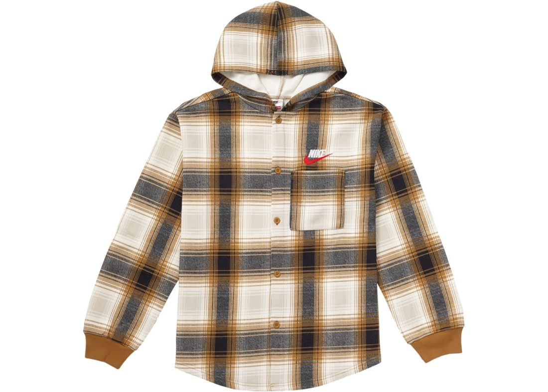 detailed pictures footwear many styles Supreme Nike Plaid Hooded Sweatshirt Mustard Fall/Winter 2018