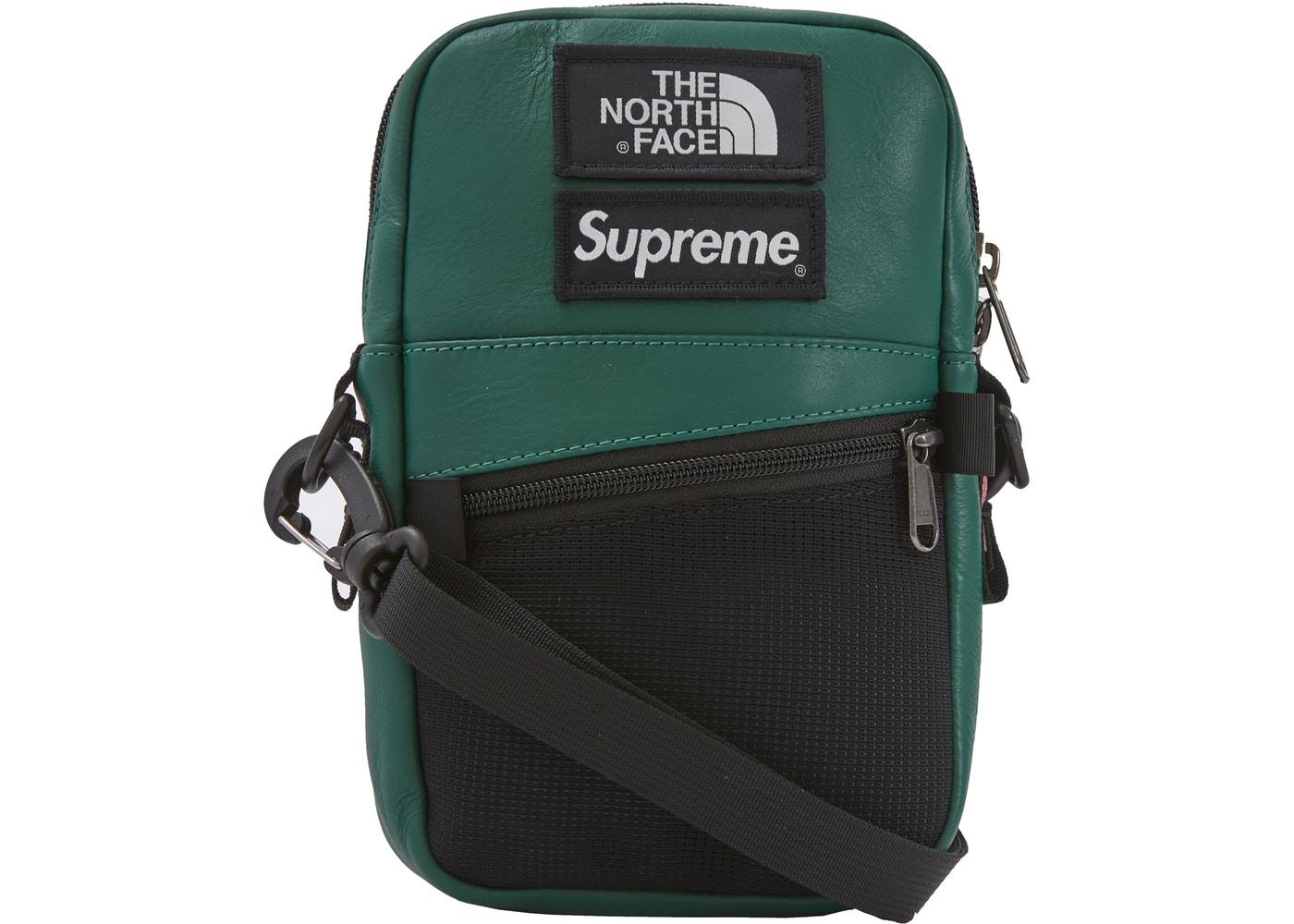 441e89f7b620 Supreme The North Face Leather Shoulder Bag Dark Green - FW18