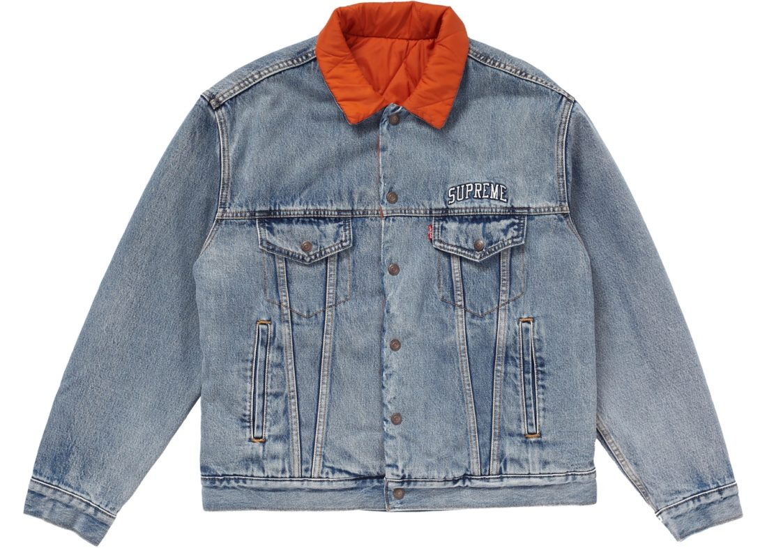 Supreme Levi's Quilted Reversible Trucker Jacket Blue