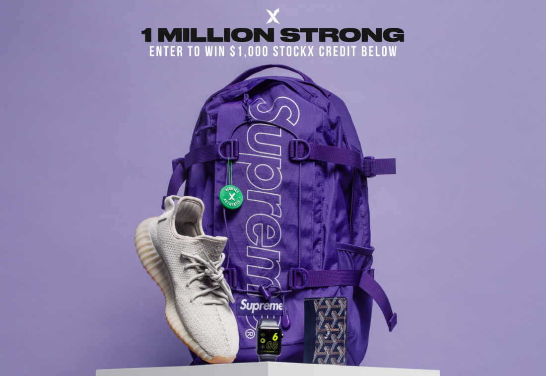 1 Million Strong: $1,000 StockX Credit Giveaway