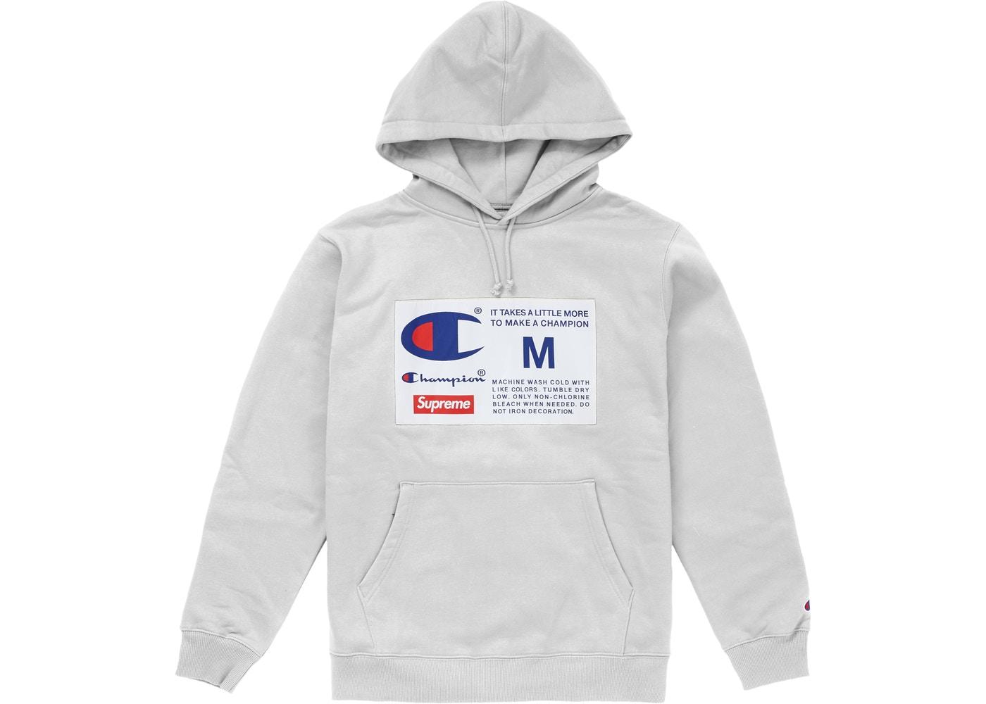 Supreme Champion Label Hooded Sweatshirt Ash Grey