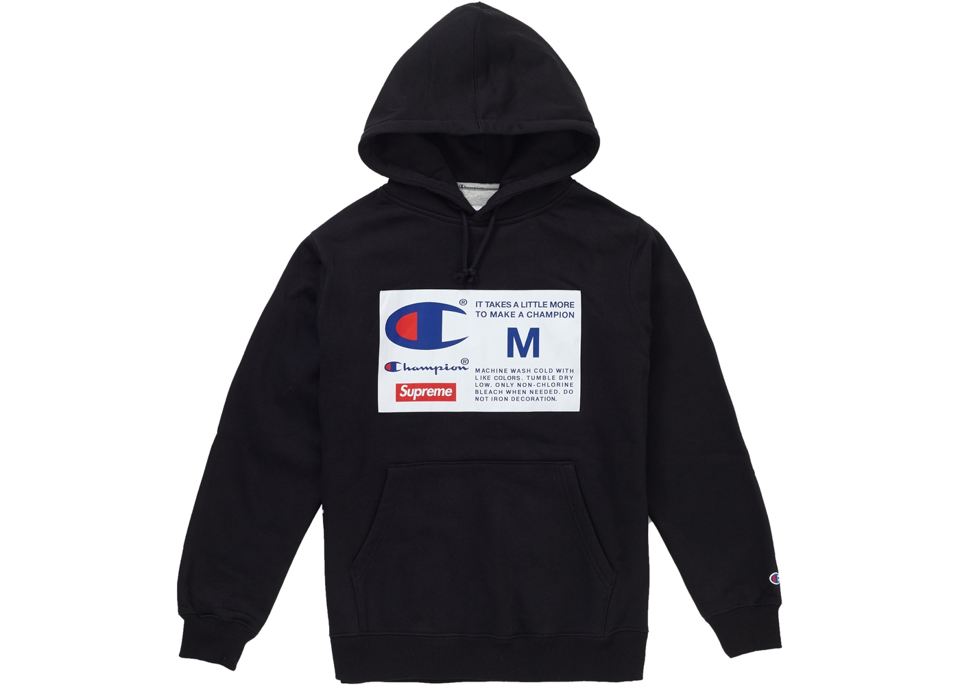 Supreme Champion Label Hooded Sweatshirt Black - FW18 44194177a98