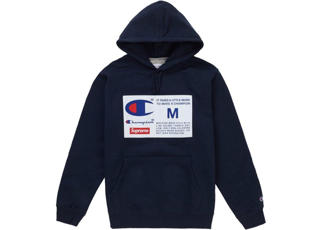 7b946a5ba05d Supreme Champion Label Hoodie Navy - StockX News
