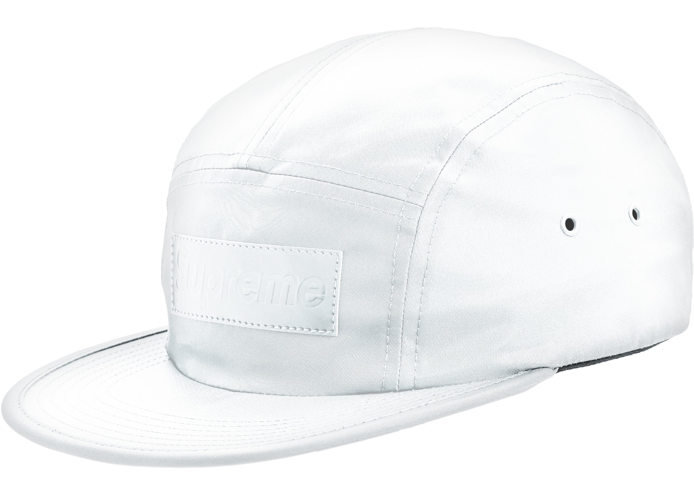 702b78bb Supreme Patent Leather Patch Camp Cap White - FW18