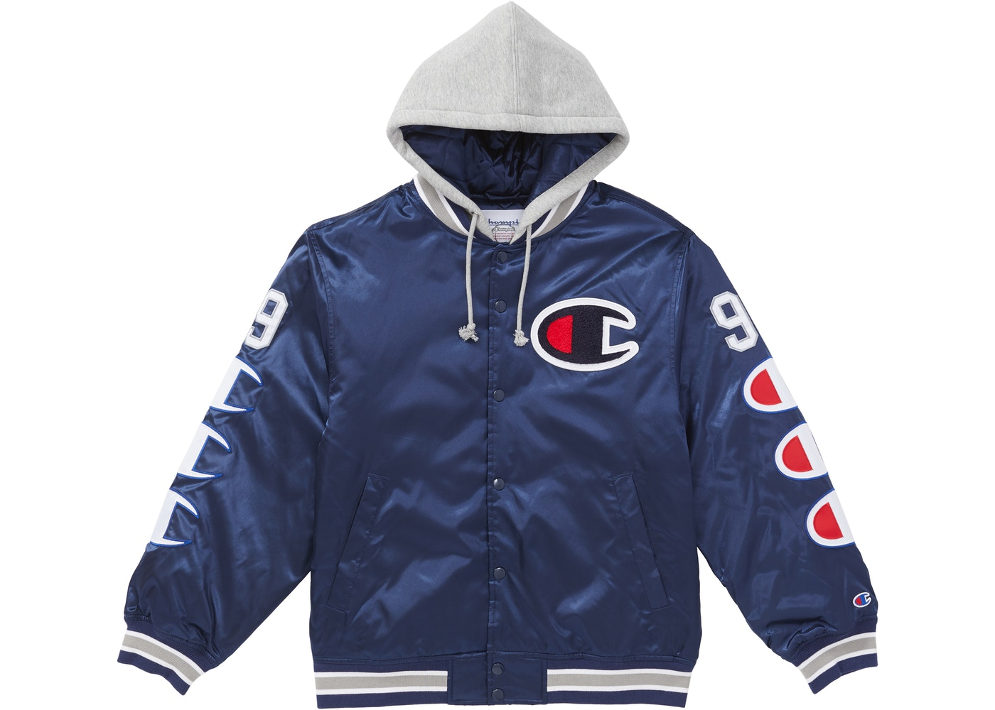 how to serch soft and light enjoy discount price Supreme Champion Hooded Satin Varsity Jacket Navy