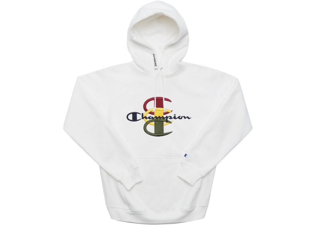 C Hooded Sweatshirt White Champion Supreme Stacked BsCdtrxhQ