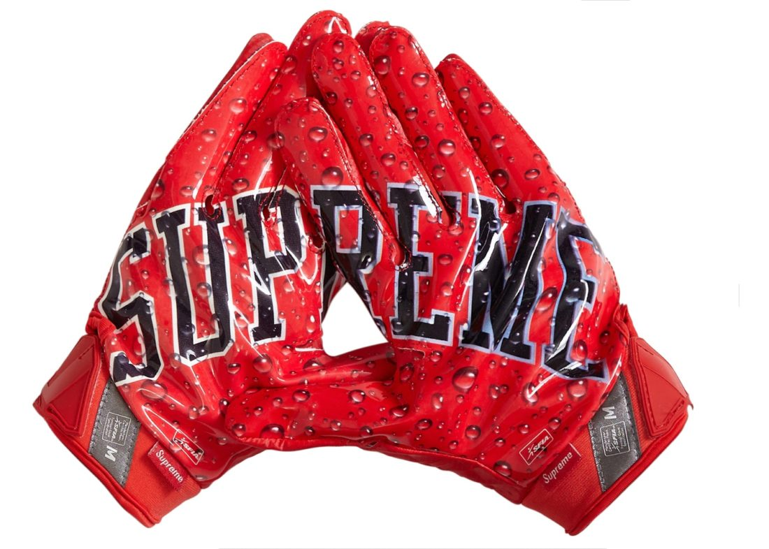 Supreme Nike Vapor Jet 4.0 Football Gloves Red Fall/Winter