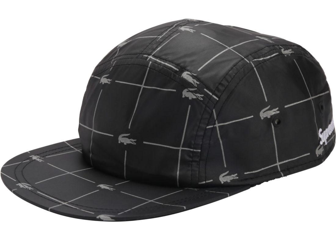 6b40f80cab08 Supreme LACOSTE Reflective Grid Nylon Camp Cap Black