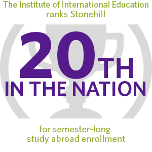 The Institute of International Education ranks Stonehill 20th in the nation for semester-long study abroad enrollment.