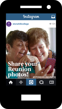 Tag your reunion photos #StonehillReunion on Twitter and Instagram!