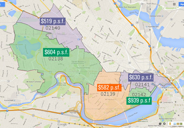 Cambridge Zip Code Map PSF