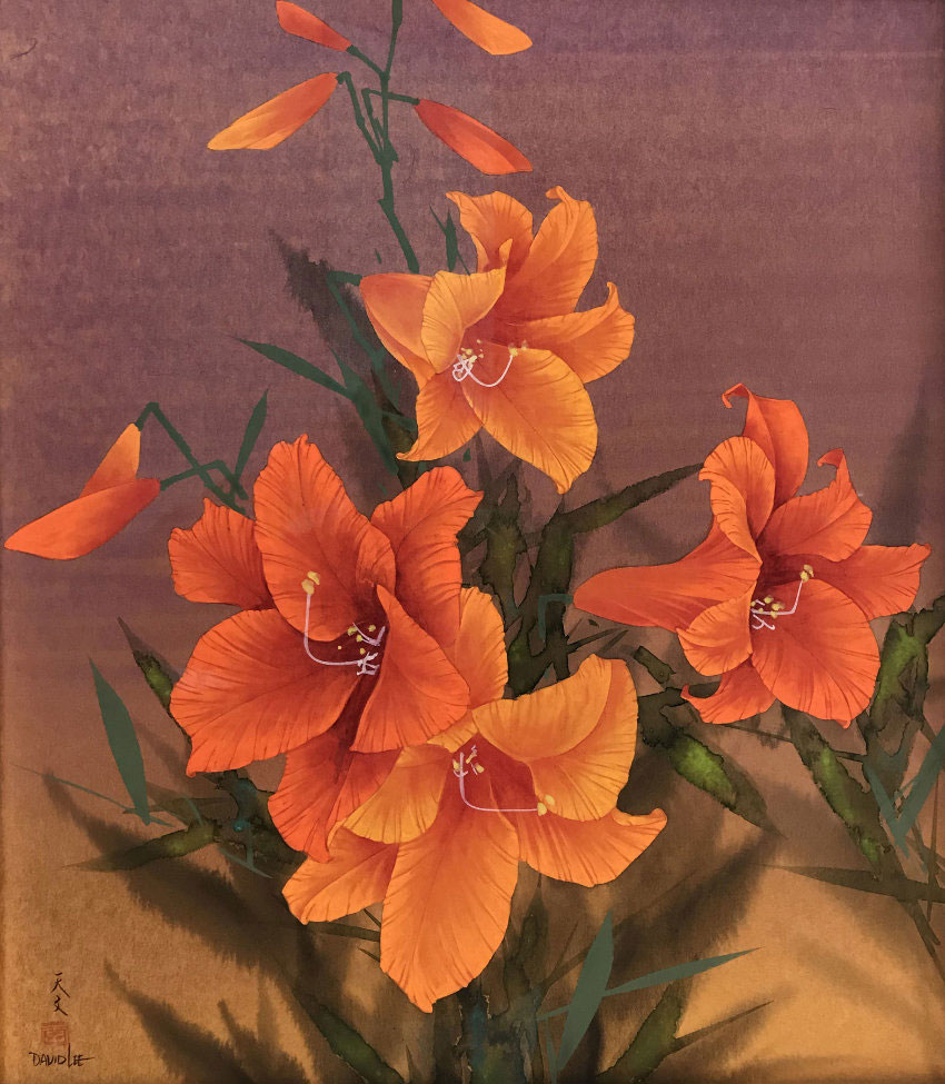 David Lee Orange Flowers