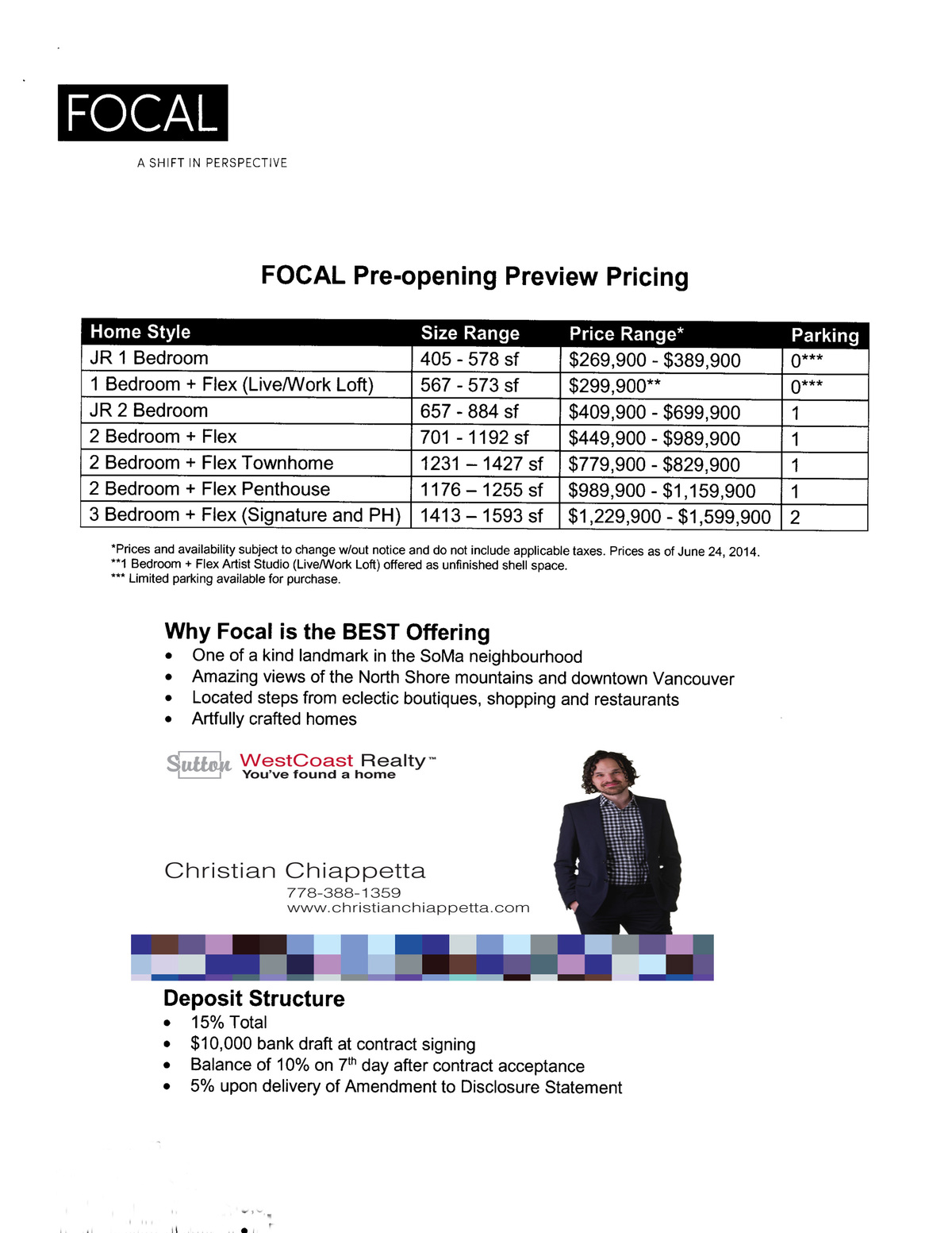 Focal Vancouver Prices Christian Chiappetta Pre Sales
