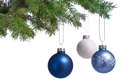 christmas tree branch blue baubles