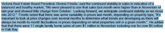 Nov. 11 VREB Pres. Quote on Real Estate Stats