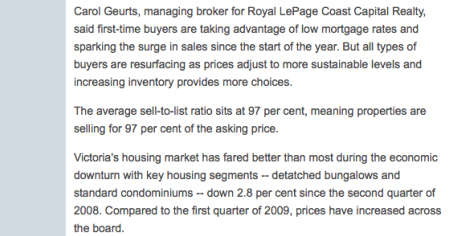 Royal LePage Coast Capital Realty Carol Guerts Quote