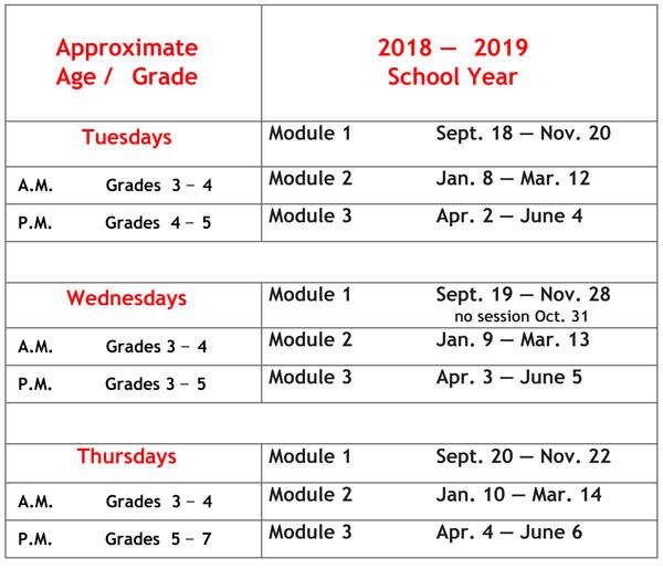 2018 - 2019 schedule