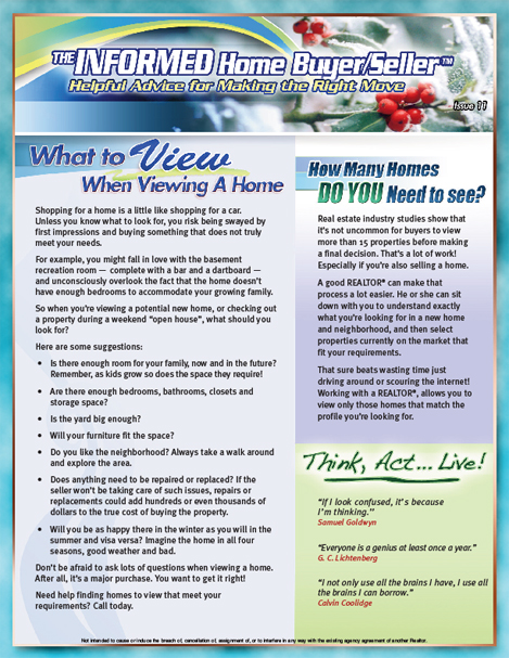 The Informed Buyer/Seller - What to View When Viewing a Home