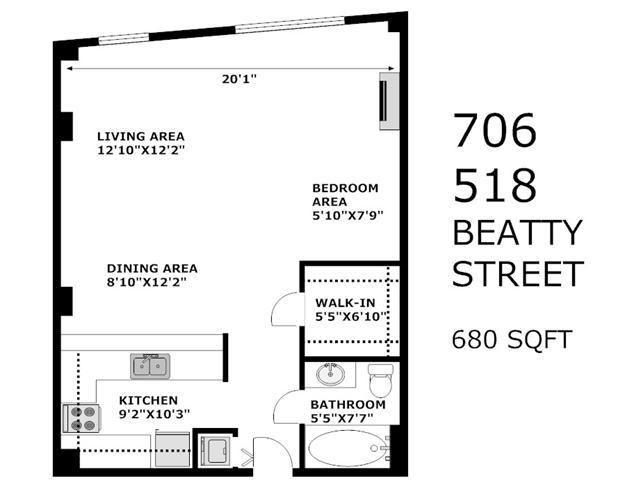 #706-518 Beatty Street - Floor Plan - Crosstown Vancouver Lofts