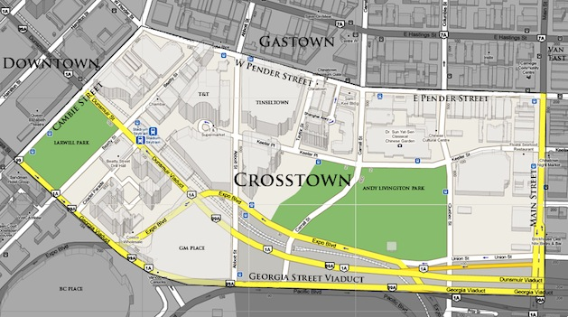 Crosstown Vancouver map