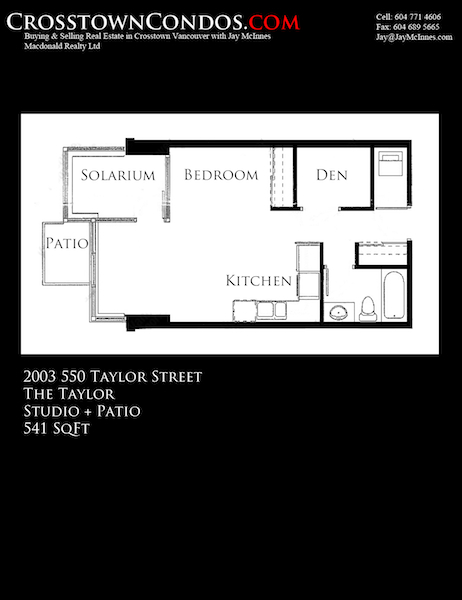 2003 550 Taylor Street (The Taylor) 541 SqFt Studio Crosstown Vancouver Condo Floor Plan by Jay McInnes
