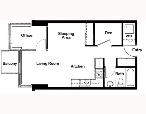 2103/550 Taylor St (The Taylor) Studio Floor Plan