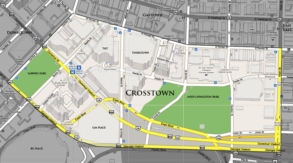 Where is Crosstown Vancouver? Crosstown Vancouver Map