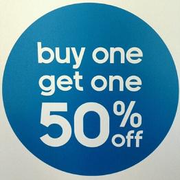 Buy one get one half off