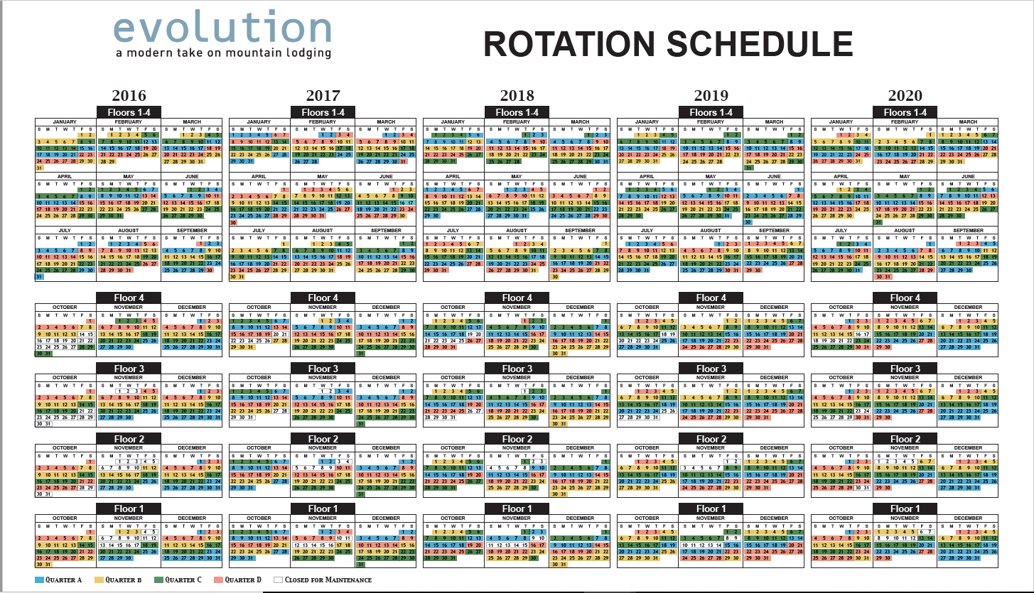 2016 - 2020 Evolutions Rotation Guide