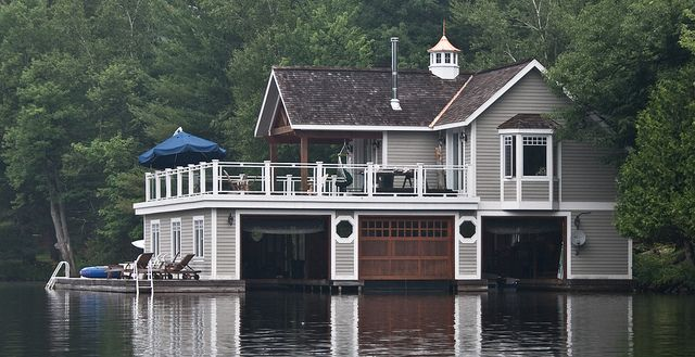 cottage on Lake Muskoka with boathouse