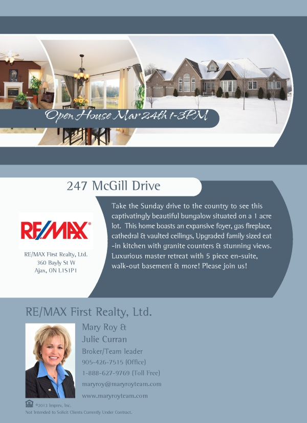 Open House Invitation: 247 McGill Drive, Janetville