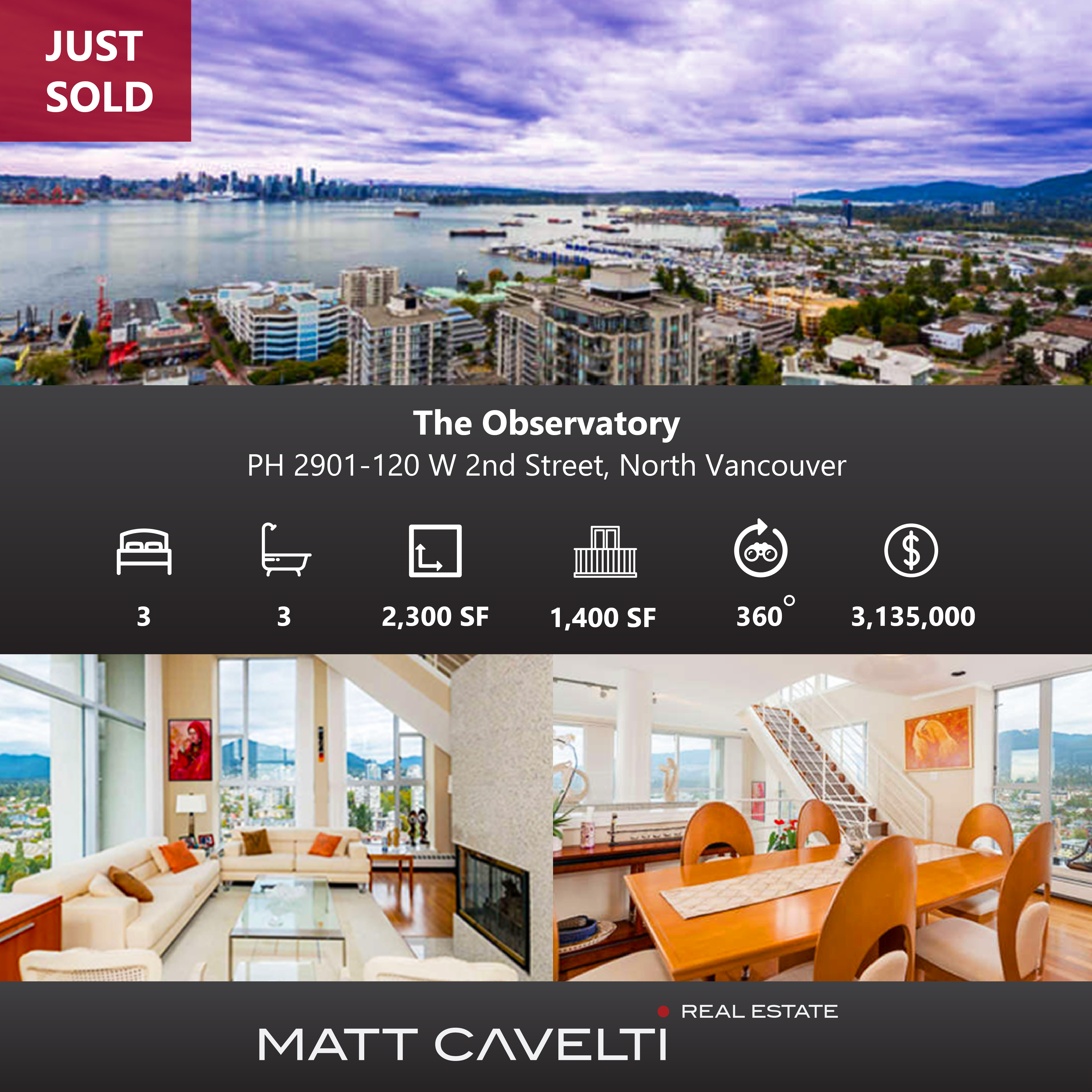 Lower Lonsdale  Apartment for sale: The Observatory  3 bedroom 2,300 sq.ft. (Listed 2017-03-27)