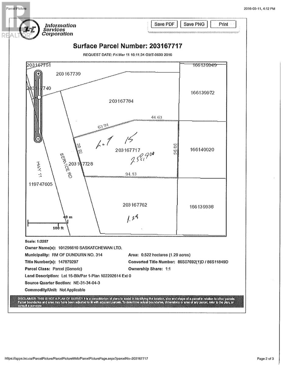 Dundurn Rm No. 314 Land for sale:    (Listed 2019-12-30)