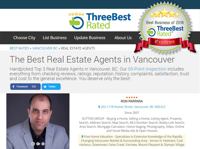 Among the Best Three Rated realtors for Vancouver