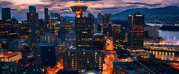 Downtown Vancouver Early Evening Lights