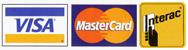 Logos: Visa, MasterCard, AMEX, Interac