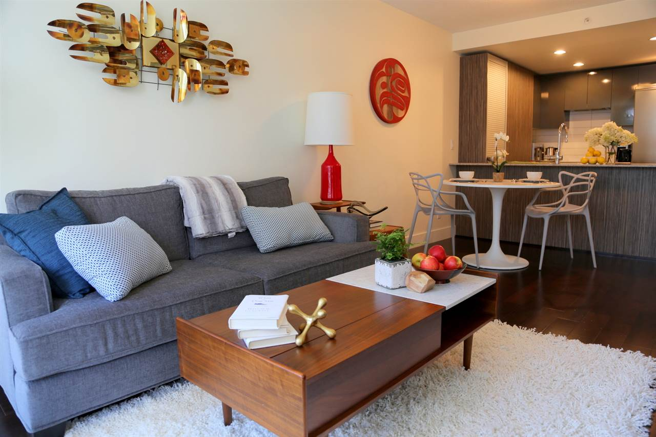 Family room and kitchen in Richard Living Yaletown condo