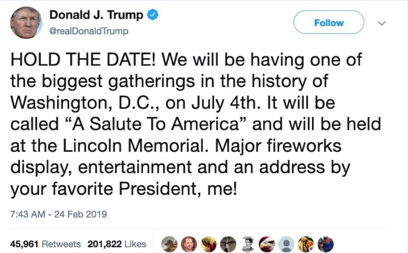 July 4 Tweet