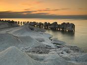 Icy shoreline sunrise