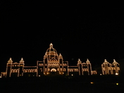 BC Legislature at night