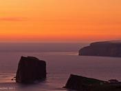 Percé rock in a purple sea