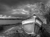 Abandoned boat on Great Slave Lake, NWT.