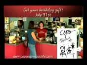 Cups Sweet 16 birthday event all day tomorrow, 7/31!