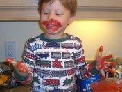 Conner helps Honey bake a Red Velvet cake for Thanksgiving!