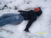 maria makin a snow angel!
