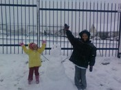 posing with our snow man